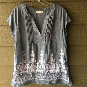 Retrology chambray embroidered top size Large